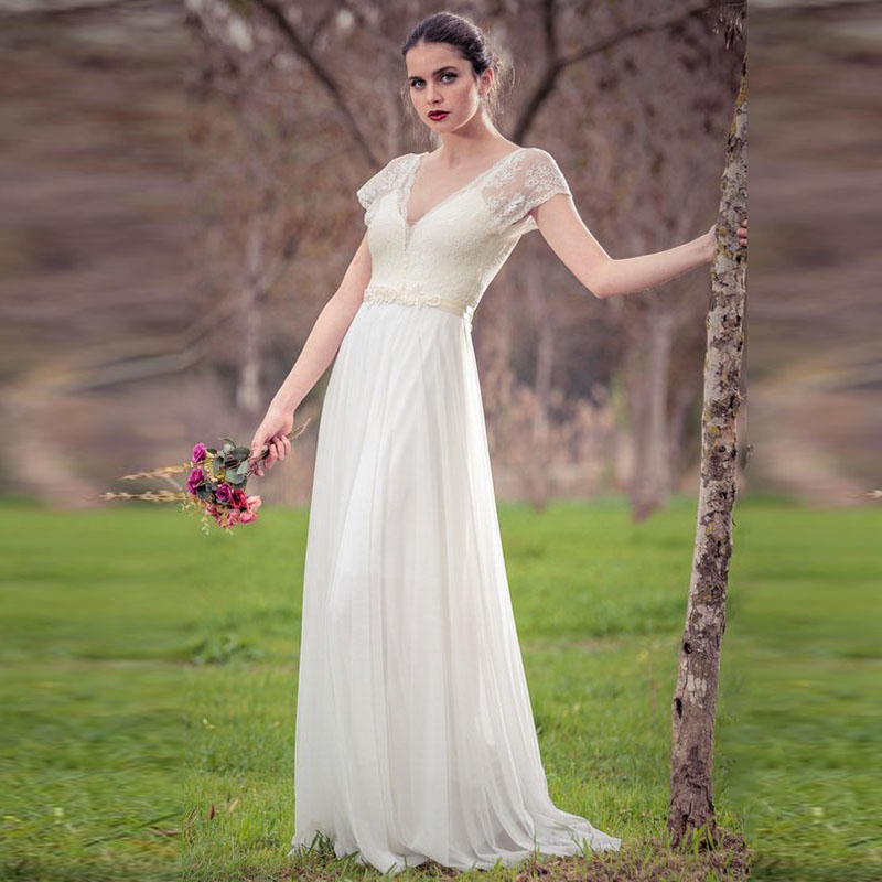 LORIE Cap Sleeve Beach Wedding Dress 2019 V Neck A Line Backless Floor Length White Ivory Lace Chiffon With Sashes Bridal Gown