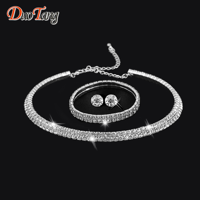 DuoTang Rhinestone Crystal Choker Necklace, Earrings and Bracelet Set