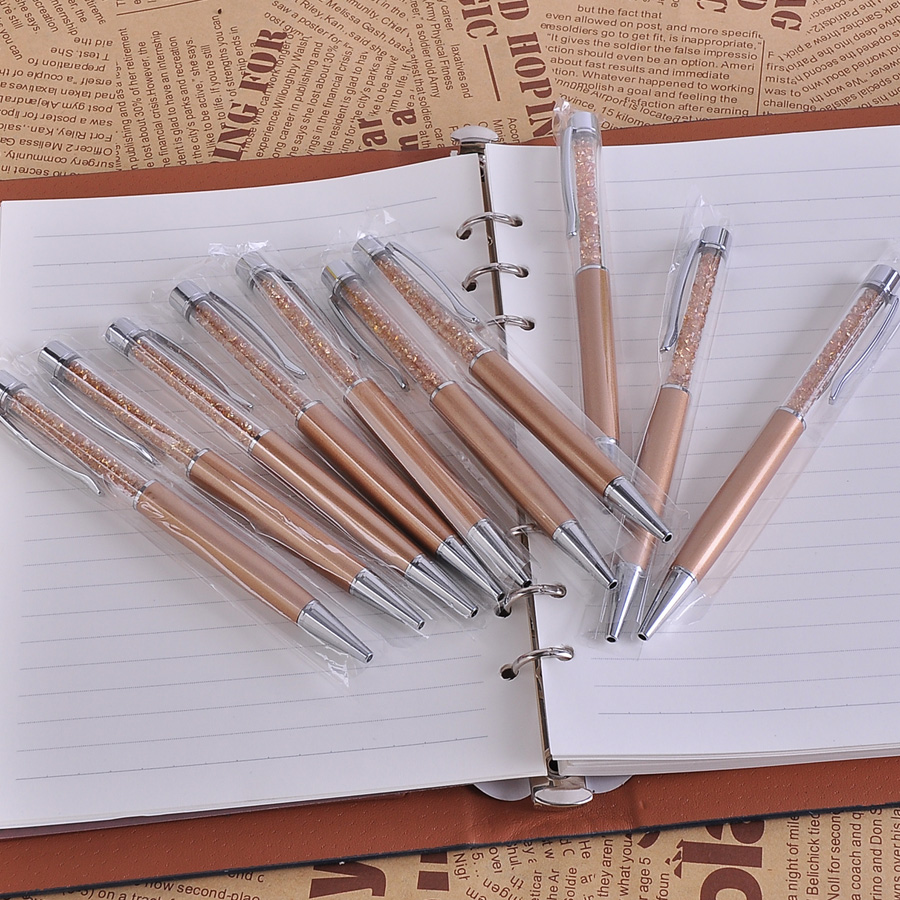 10Pcs/lot Luxury Gold Swarovski Pen 0.7mm Black Refill Metal Ballpoint Pens Kawaii Material Escolar Office Supplies for Gift