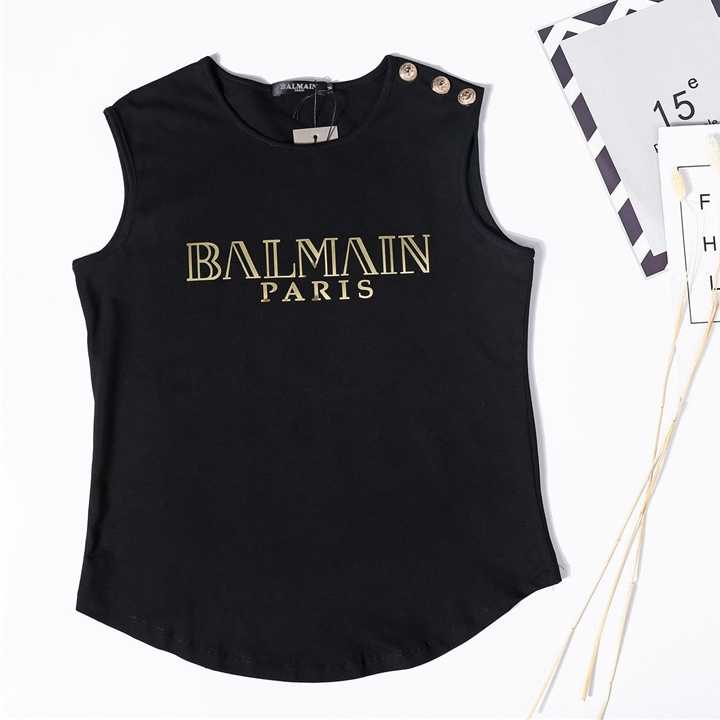 balmain shirt Spring Summer Cotton Tank Tops Women Sleeveless Round Neck T Shirt Ladies  Vest Singlets Paris Tank