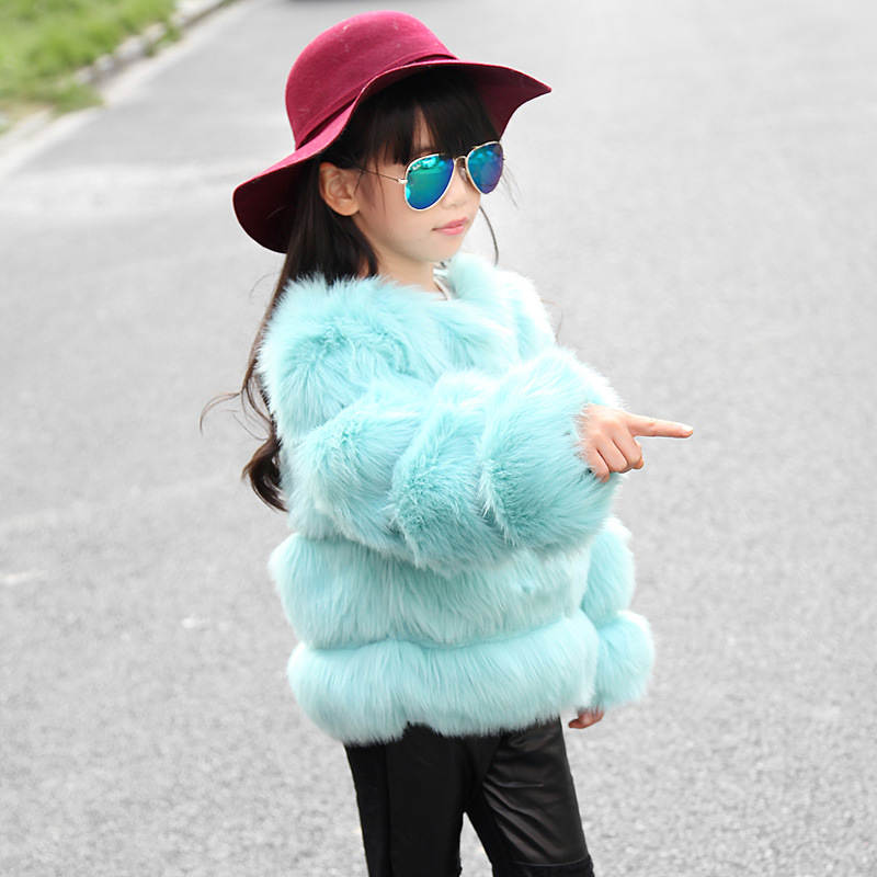 JKP girl fur coat winter children thick section quilted imitation fur sweater 2018 high-end winter clothing fashion jacket v neckline fur cuff sweater