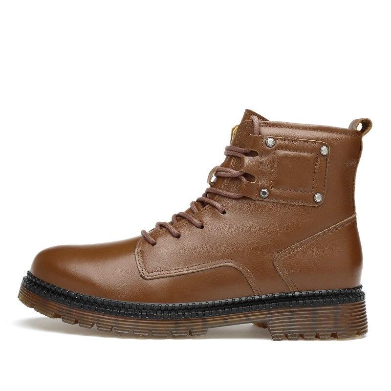 Haute marron Chaussures Mi veau Hommes De Sécurité Travail Militaire Noir Véritable Cuir Top D'hiver Bottes Noir En Mâle Mens hrsdQCt