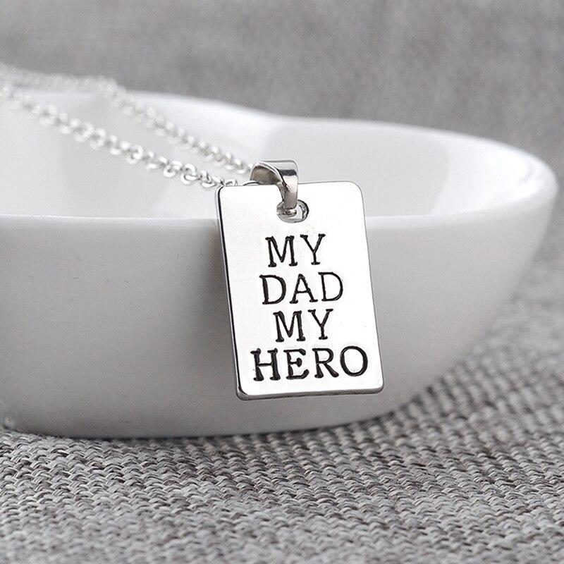 1 Stück Kreative Mein Vater Mein Hero Buchstaben Geschnitzt Familie Anhänger Kette Platte Silber Choker Familie Liebe Halskette Geschenk Hohe Sicherheit