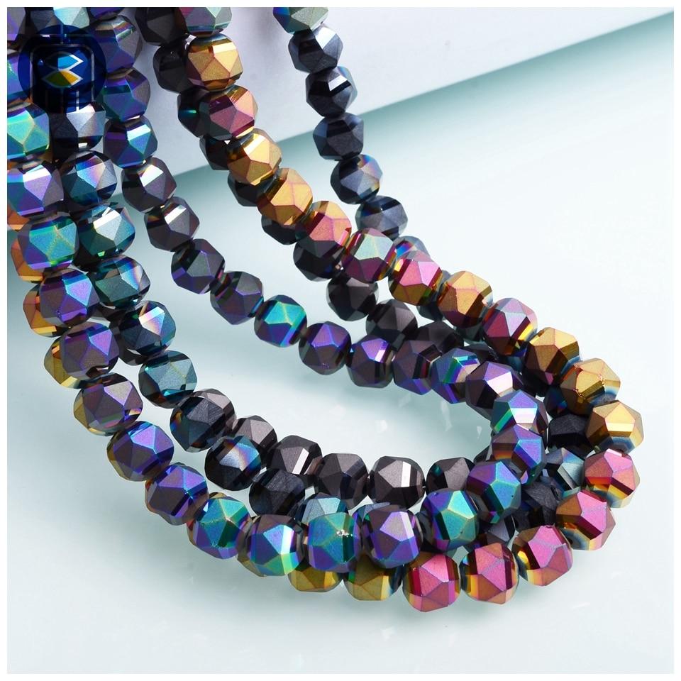 JuleeCrystal Triangle perles rondes à facettes 8mm 30 pièces perles de verre coloré mat cristal perles en vrac pour la fabrication de bricolage