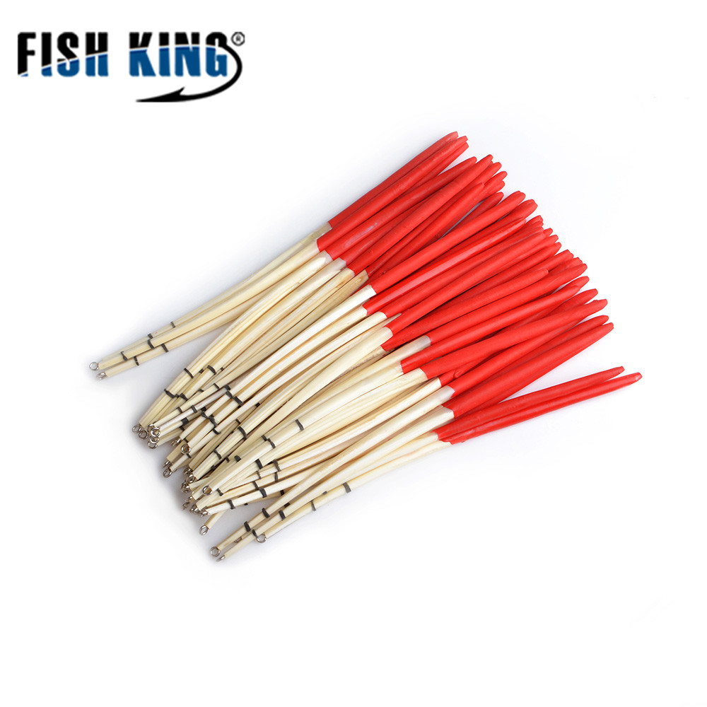 FISH KING 10pcs/lot 2 colours Peacock Feather Float hard tail type fishing float bobber with rings for fishing(China)