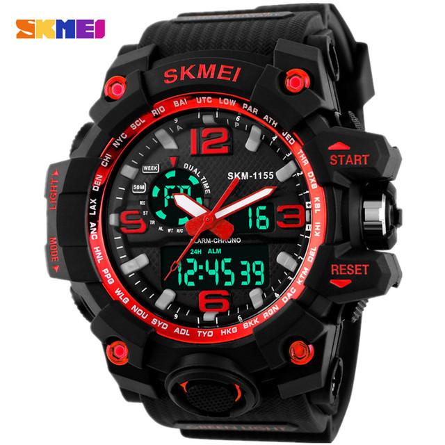 2016 Big Mostrador do Relógio Digital de SKMEI Homens S CHOQUE Militar Relógio do exército Data Calendário Resistente À Água LED Sports Relógios Montre Homme