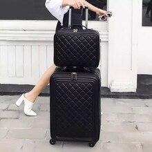 FirstMeet бренда spinner искусственная кожа ретро чемодан на колесиках 16/20/24 багаж carry на ручной клади Набор с сумочкой