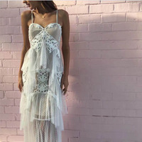 Bohemian Holiday Beach Maxi Dresses 2018 Women Summer Sexy V neck Embroidery Lace Mesh Strapless White Dot Long Dress