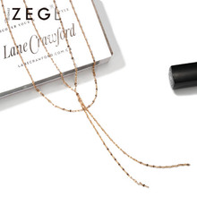 ZEGL Simple layered necklace female double clavicle chain jewelry tassel