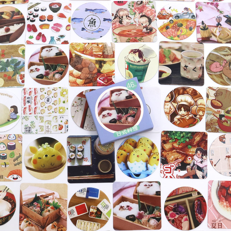 46 PCS/box New Food Diary Paper Lable Stickers Crafts And Scrapbooking Decorative Lifelog Sticker DIY Lovely Stationery
