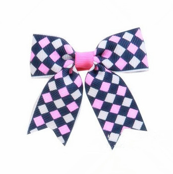 200pcs/lot  Diamond Design Ribbon Hair Bow Hairbow polyester rhombus ribbon bow hair clip accessories