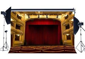 Image 1 - 豪華なステージの背景インテリアシアターショー背景ボケシャイニングライト赤椅子バンドコンサート写真撮影の背景