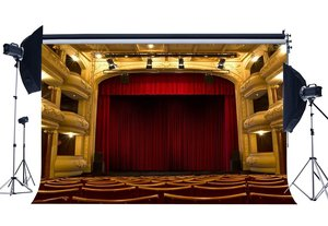 Image 1 - Luksusowe tło sceny wnętrze teatru pokaż tła Bokeh świecące światła czerwona wstążka na krzesło koncert fotografia tło