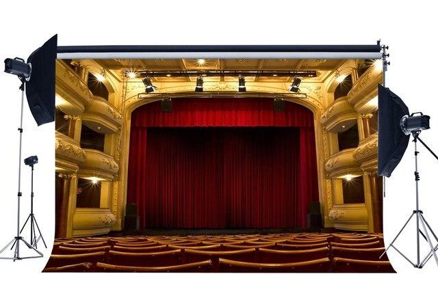 Luksusowe tło sceny wnętrze teatru pokaż tła Bokeh świecące światła czerwona wstążka na krzesło koncert fotografia tło