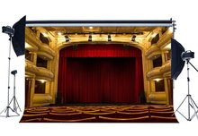 Luxuriöse Bühne Hintergrund Innen Theatre Zeigen Kulissen Bokeh Glänzende Lichter Rot Stuhl Band Konzert Fotografie Hintergrund