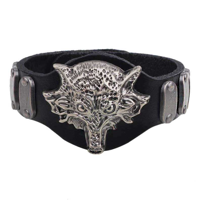 2017 New Punk Male Alloy Big Wolf Braclet Men Leather Bracelet Animal Cuff Braslet Adjustable Pulseira Masculina Jewelry