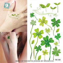 RC2330 Sexy Body Art Water Transfer Tattoo Decal Waterproof Temporary Tattoo Sticker Green Clover Plant Fake Tattoo