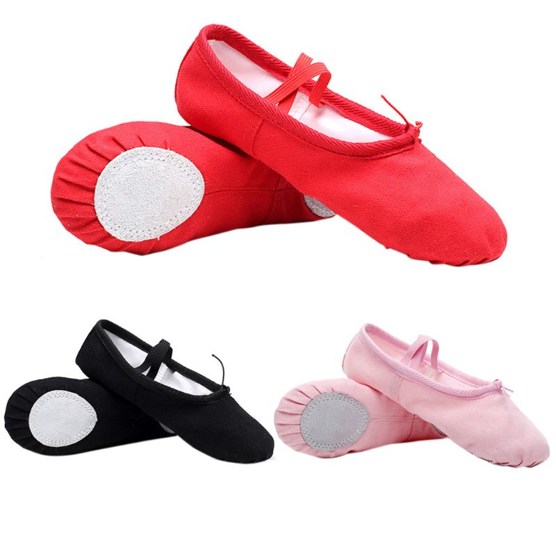 1Pair Baby Girl Canvas Cotton Ballet Pointe Dance Shoes Gymnastics Slippers Yoga Flats For Baby