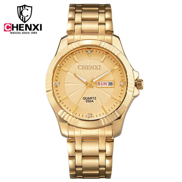 CHENXI 050A Brand Man Luxury Gold Dress Watches Stainless Steel Unique Golden Wo