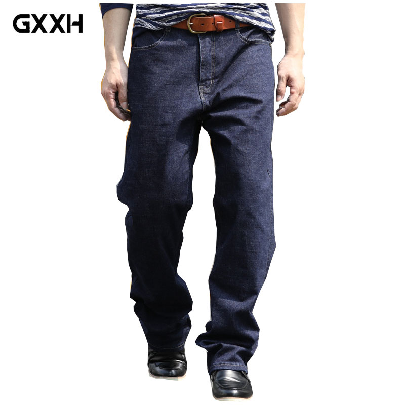 Mens Jeans Premium Mens Jeans Autumn New Loose Jeans Mens Straight Large Size 28-33 34 35 36 38 40 42 44 Stretch Trousers