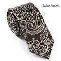 Tailor Smith Mens microfibra Jacquard moda Brown Paisley gravata Formal de casamento clássico vestido de festa magro laço acessório