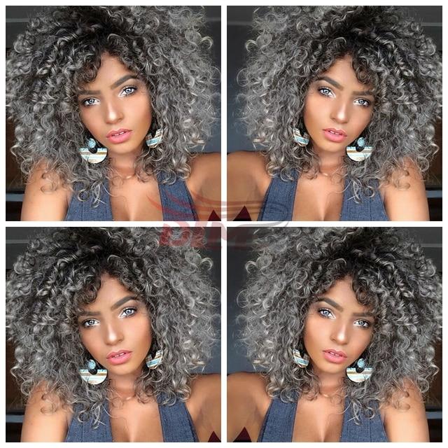 Couleur gris cheveux afro