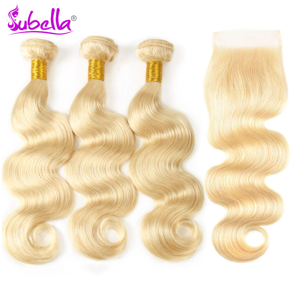 Subella волос бразильский тело волна волос 3 Связки с закрытием 613 блондинка Цвет человеческих волос с 4x4 застежка Бесплатная доставка