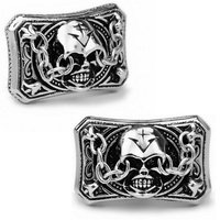 SPARTA White Gold Electroplated Demon Skull Cufflinks men's Cuff Links Free Shipping !!! metal buttons