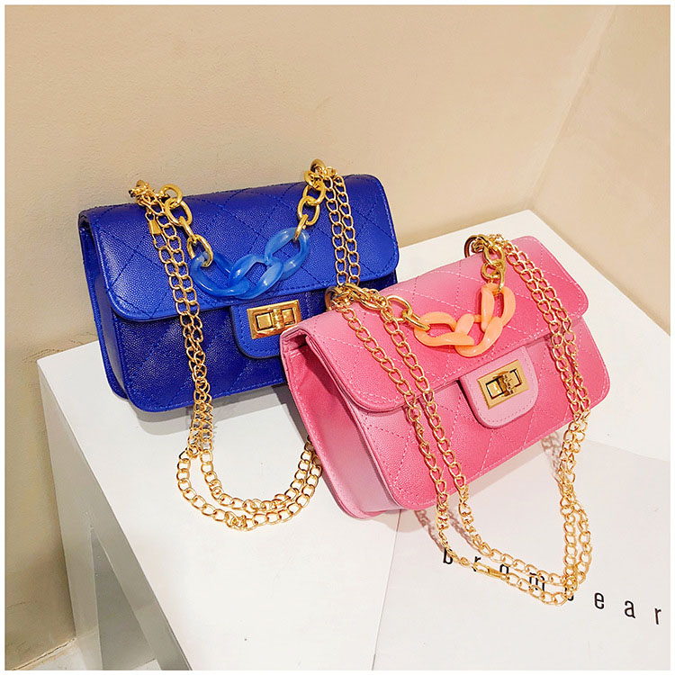 Luxury Women Classic handbag Designer Pink Blue Gradient PU Leather Lingge Shoulder Bag (1)