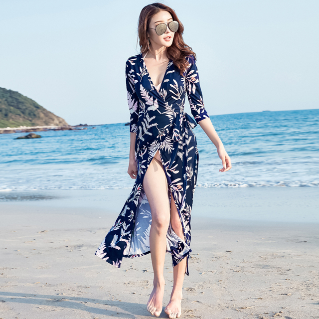 2017 Summer New Korean Women Fashion Sexy V Neck Floral Printed Maxi Dress Beach Dress Wrap