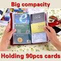 Hot! Unisex Couro Real Vaca Genuine Titulares de Cartão de ID de 90 Bits Nome Cartões De Visita Livro de crédito da Carteira Bolsa Para As Mulheres e homens