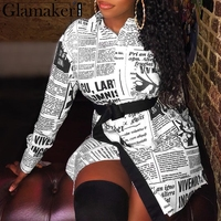 Glamaker Newspaper print letter blouse shirt Women long sleeve sexy vintage Female blouse white autumn elegant office top ladies