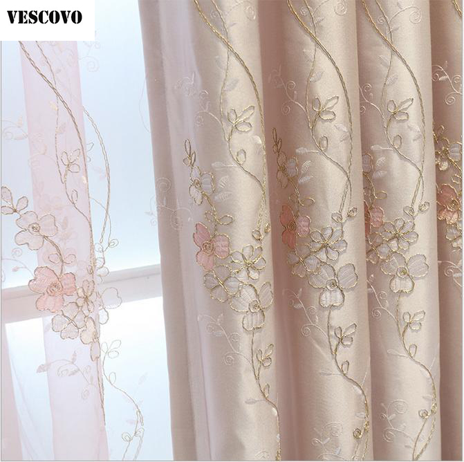 Vescovo Embroidered Silk Fabric Voile Curtain Pink Screens