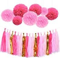 HAOCHU 28pcs Chic Wedding Decoration Tissue Paper Pom Poms Gold Pink Hanging String Tassel Garland Girls