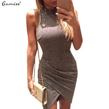 elegant gray sleeveless knitted casual dress women evening party bodycon dress girlsladies spring short pencil