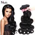3 Bundles malásia não transformados onda do corpo virgem cabelo nenhum emaranhado MeetuHair produto personalizado 8 - 28 polegada 7A cabelo virgem malaio