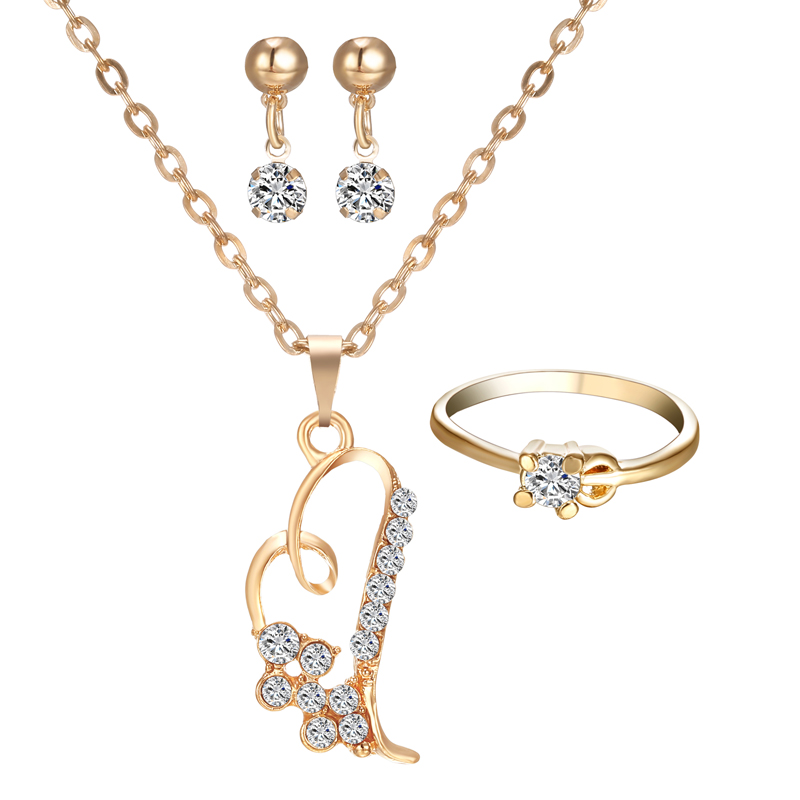 55f3e71cf8d3 Romántico corazón colgante collares joyería conjunto pendiente exquisito  anillos Set para mujeres boda joyería de compromiso