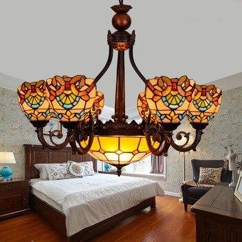 Tiffany Barokke Gebrandschilderd Glas Geschorst Armatuur E27 110-240v Ketting Hanger Verlichting Voor Thuis Salon Eetkamer