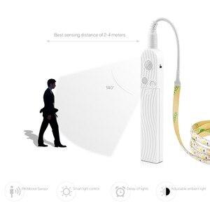 Image 2 - Sensor de movimiento inalámbrico PIR, luz nocturna a prueba de agua USD tira LED 5V 1M 2M 3M lámpara cinta TV armario escalera cocina lámparas de armario