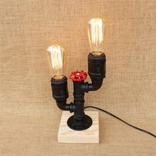 Retro Metall Schreibtisch Lampe Antike Eisen Industrielle Wasser Rohr Tisch Holz Basis Mit Schalter E26 27 Fr Nacht Schla