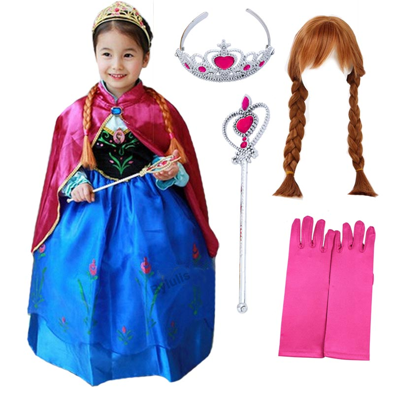 Girls Anna Dress Costume Cosplay Kids Snow Queen Princess Party Dresses with Cape Wig Glove Children Halloween Fancy Dress up