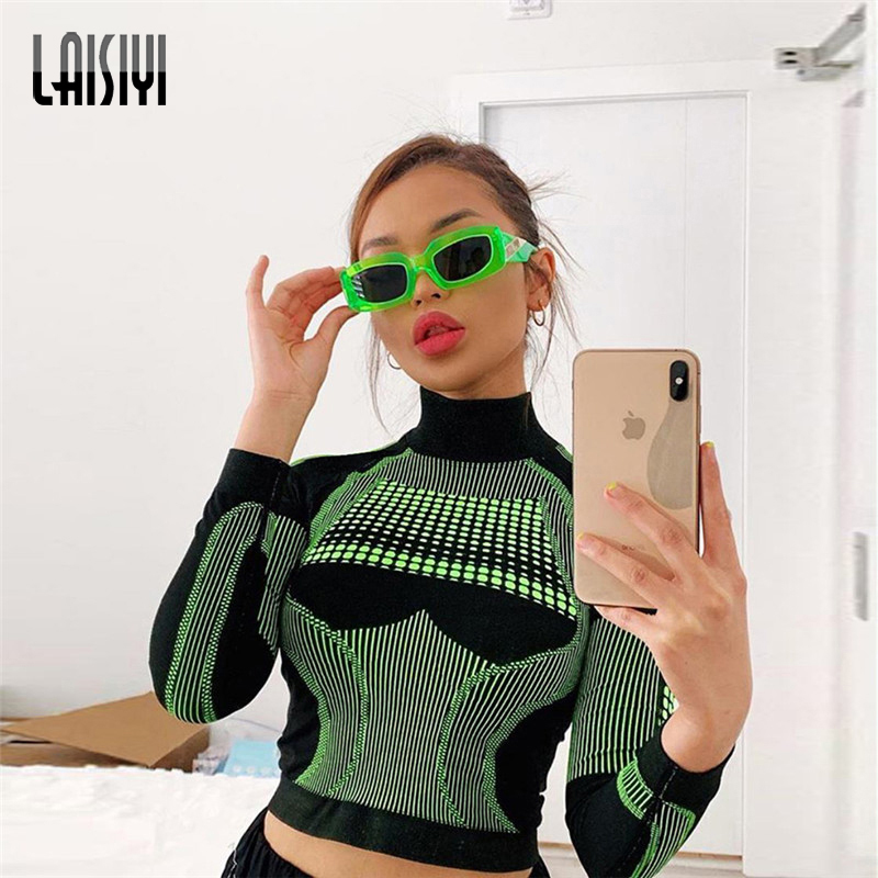 LAISIYI Women Fitness Sporting Two Pieces Set Letter Print Turtleneck Top Leggings Striped Patchwork 2019 Fashion Tracksuits