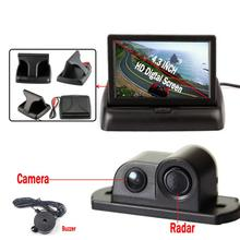 "Car Styling Parking Sensor with 4.3"" Foldable Monitor Backup sensor de estacionamento Reversing Camera"
