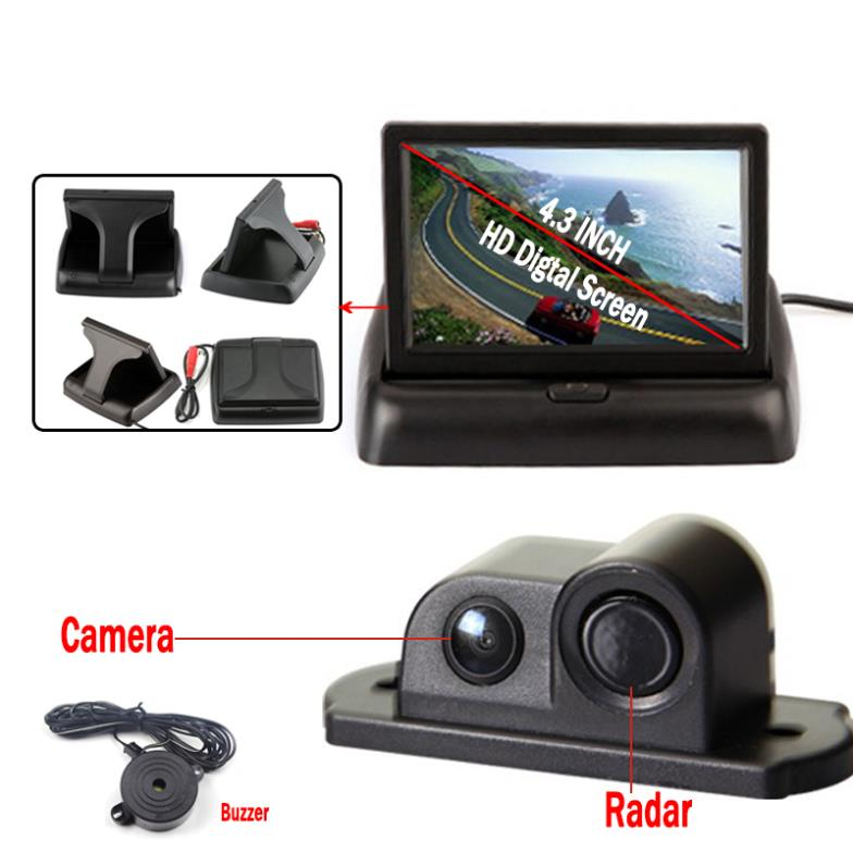 ФОТО Car Styling Parking Sensor with 4.3'' Foldable Monitor Backup sensor de estacionamento Reversing Camera