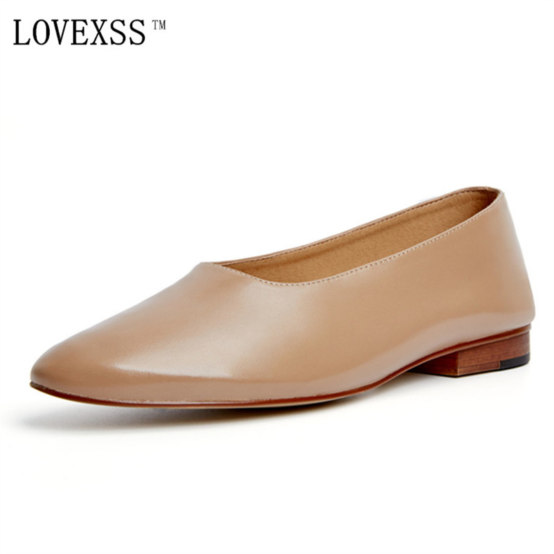 LOVEXSS Genuine Women Flats Genuine Leather Shoe Spring Autumn Loafers Black Apricot White 33 44 Shallow