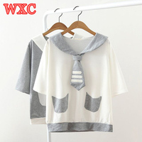 Zomer Vrouw T-shirt Harajuku Half Mouwen Leuke Kat Poot Borduren T-shirt Japanse Kawaii Mooie Meisje Sailor Kraag Tops Tee WXC