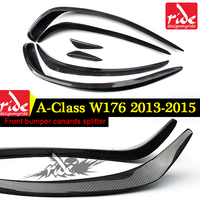 W176 6PCS Front Bumper Splitter Lip For Benz A class A180 A200 A250 A45 Look Carbon Fiber Anterior Canards Spoiler Wing 2013 15