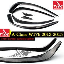W176 6PCS Front Bumper Splitter Lip For W176 A-class A45 AMG A180 A200 A250 Carbon Fiber Anterior Canards Spoiler Wing 2013-2015 цена 2017