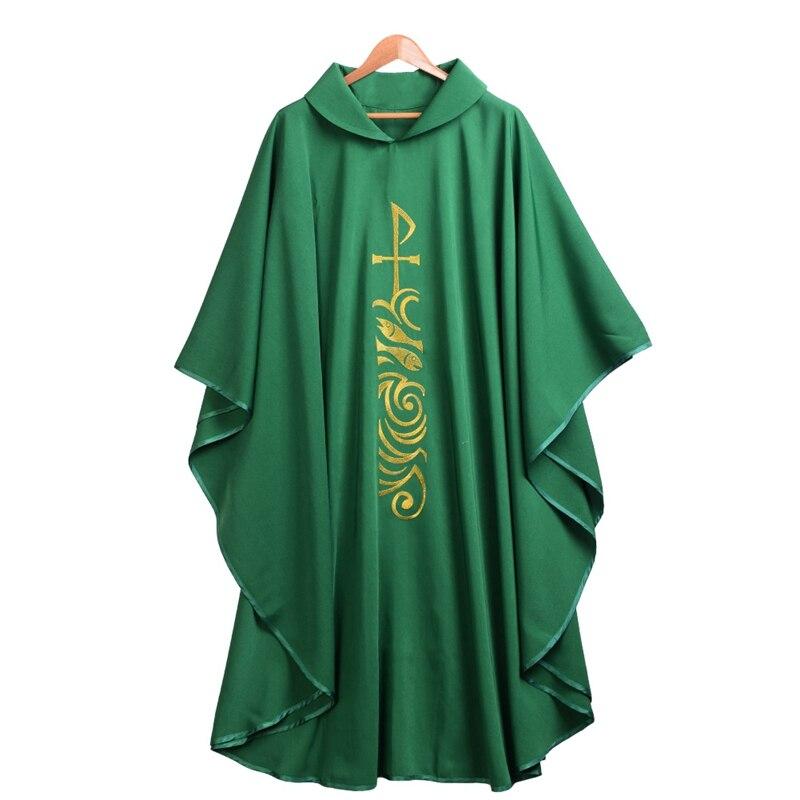 Verde Chiesa Cattolica Sacerdote Chasuble Paramenti Rotolo Collare Abito Clergy Vestaglie Abbigliamento