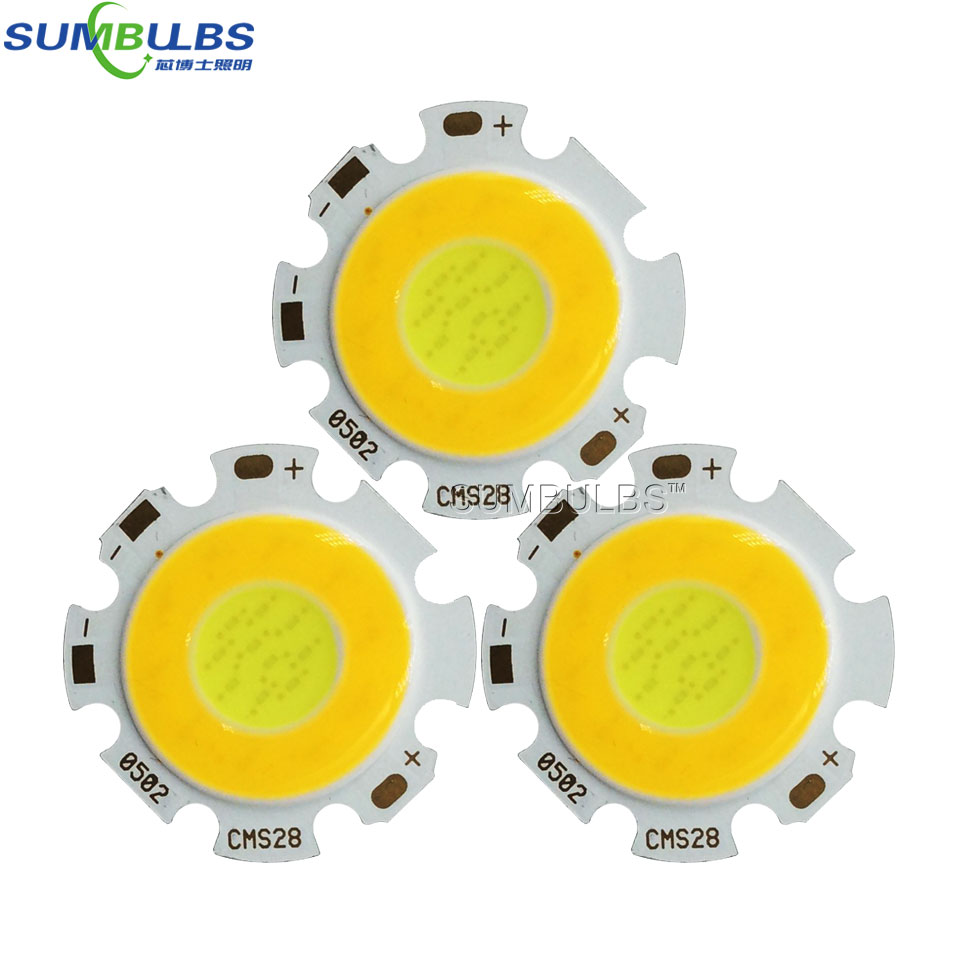 20pcs/lot Sumbulbs 2820 Double Color Temperature Rounded COB Chip LED Light Source 2*3W 2*5W 2*7W Warm/ Cold White 28mm Diameter
